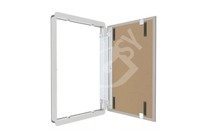 Magnetic revision door with hinges