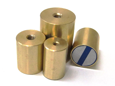 Cylindrical brass pot magnets with inner threads
