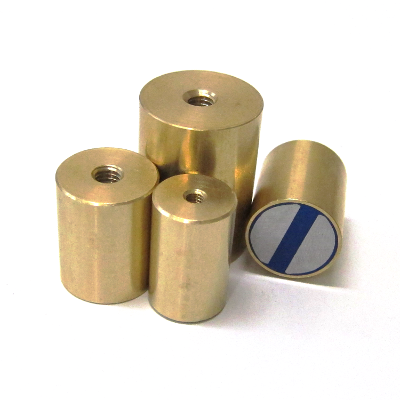 Magnetic lenses, cylindrical, with inner screw, made of brass